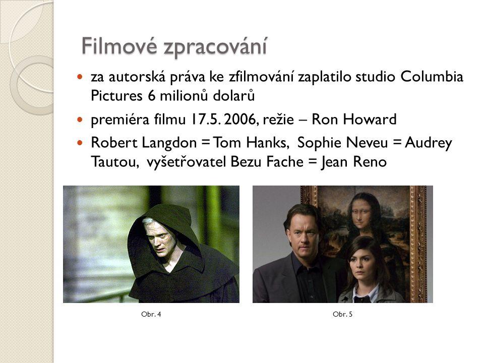 Filmové zpracování za autorská práva ke zfilmování zaplatilo studio Columbia Pictures 6 milionů dolarů premiéra filmu 17.5. 2006, režie – Ron Howard R