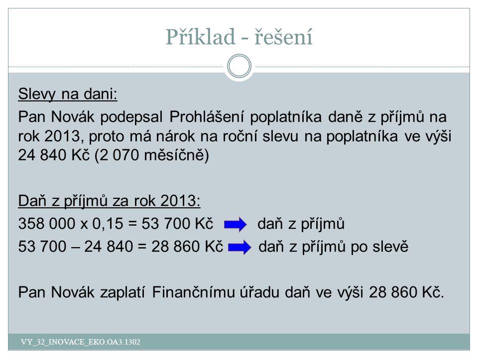 Příklad - řešení Slevy na dani: Pan Novák podepsal Prohlášení poplatníka daně z příjmů na rok 2013, proto má nárok na roční slevu na poplatníka ve výši 24 840 Kč (2 070 měsíčně) Daň z příjmů za rok 2013: 358 000 x 0,15 = 53 700 Kč daň z příjmů 53 700 – 24 840 = 28 860 Kč daň z příjmů po slevě Pan Novák zaplatí Finančnímu úřadu daň ve výši 28 860 Kč.