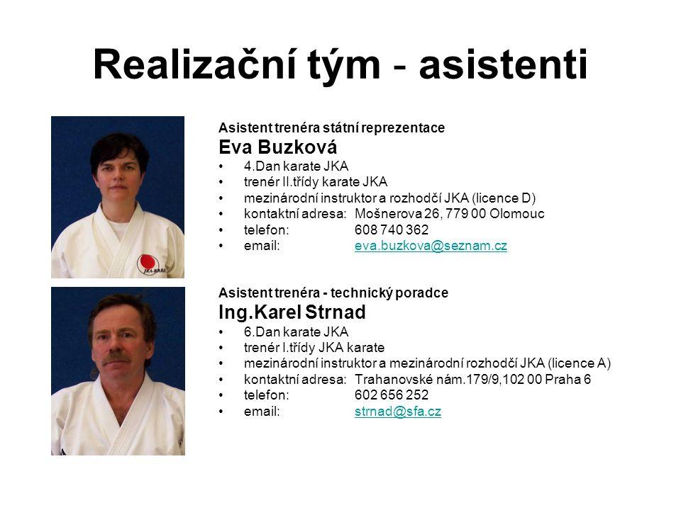 Realizační tým - asistenti Asistent trenéra státní reprezentace Eva Buzková 4.Dan karate JKA trenér II.třídy karate JKA mezinárodní instruktor a rozho