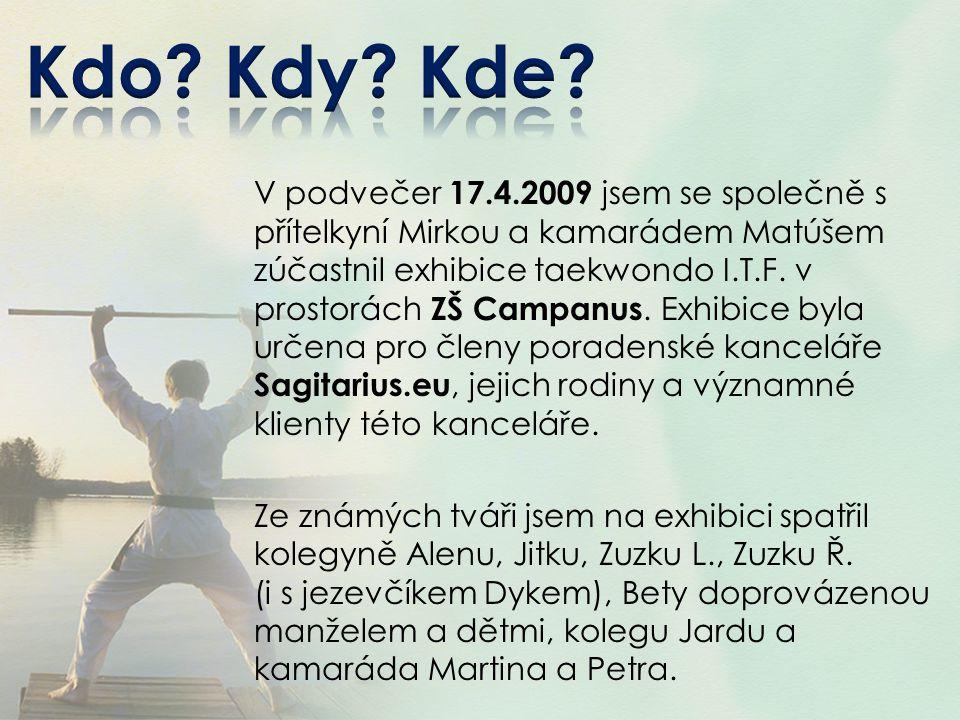 V podvečer 17.4.2009 jsem se společně s přítelkyní Mirkou a kamarádem Matúšem zúčastnil exhibice taekwondo I.T.F. v prostorách ZŠ Campanus. Exhibice b