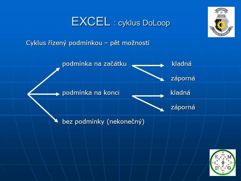 EXCEL : cyklus DoLoop Cyklus řízený podmínkou – pět možností podmínka na začátku kladná záporná záporná podmínka na konci kladná záporná záporná bez podmínky (nekonečný)