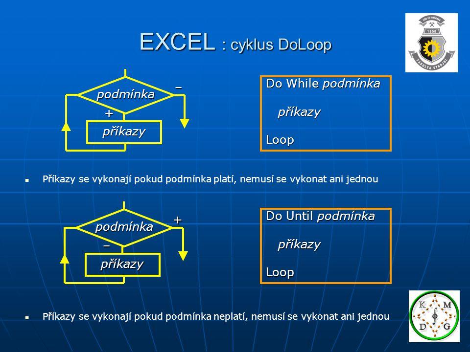 EXCEL : cyklus DoLoop Do While podmínka příkazy příkazyLoop – + příkazy podmínka Do Until podmínka příkazy příkazyLoop + – příkazy podmínka Příkazy se vykonají pokud podmínka platí, nemusí se vykonat ani jednou Příkazy se vykonají pokud podmínka neplatí, nemusí se vykonat ani jednou