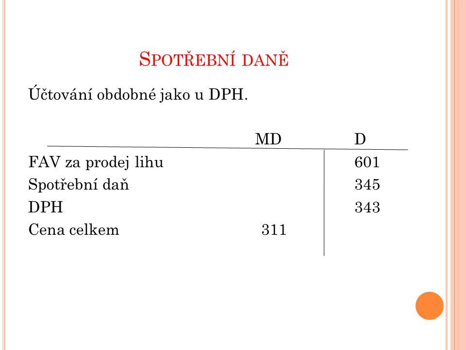 S POTŘEBNÍ DANĚ Účtování obdobné jako u DPH. MDD FAV za prodej lihu601 Spotřební daň345 DPH343 Cena celkem311