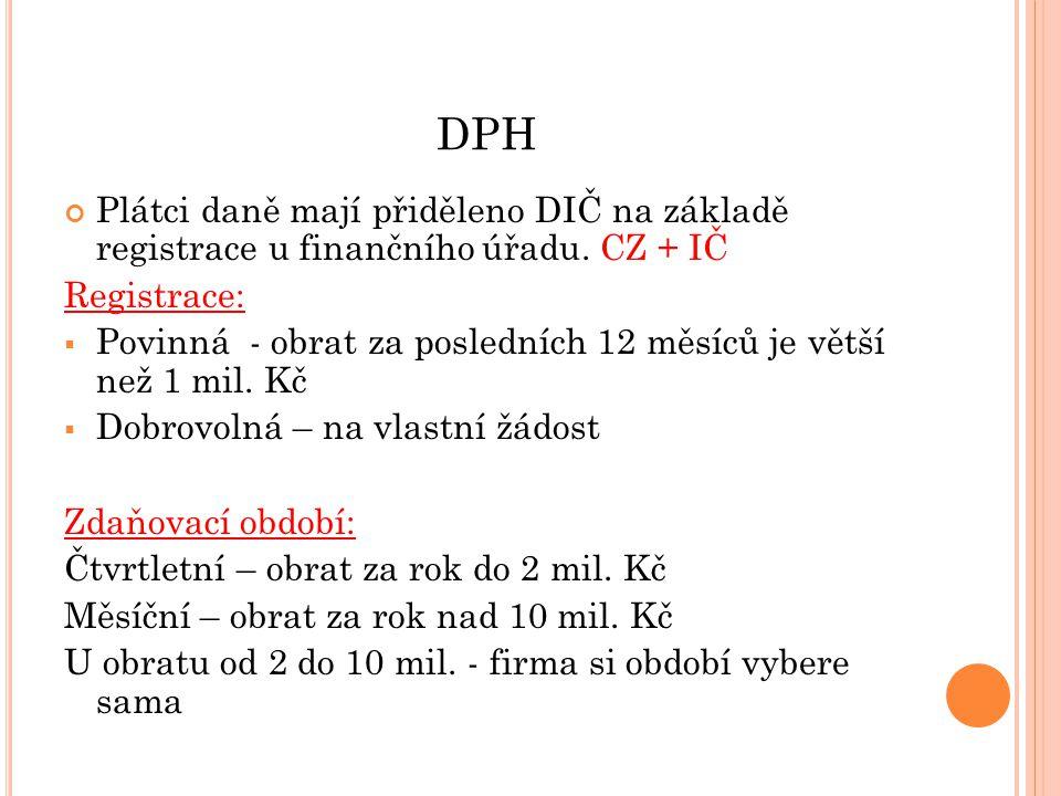 DPH Plátci daně mají přiděleno DIČ na základě registrace u finančního úřadu. CZ + IČ Registrace:  Povinná - obrat za posledních 12 měsíců je větší ne