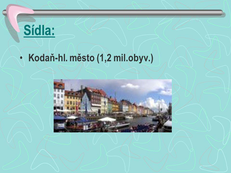 Sídla: Kodaň-hl. město (1,2 mil.obyv.)