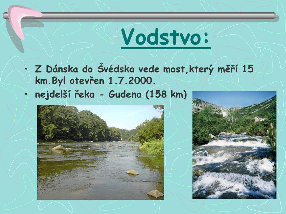 Vodstvo: Z Dánska do Švédska vede most,který měří 15 km.Byl otevřen 1.7.2000. nejdelší řeka - Gudena (158 km)