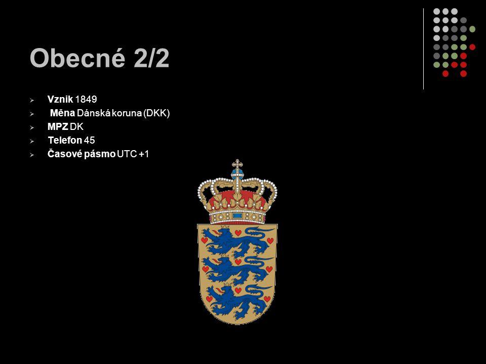 Obecné 2/2  Vznik 1849  Měna Dánská koruna (DKK)  MPZ DK  Telefon 45  Časové pásmo UTC +1