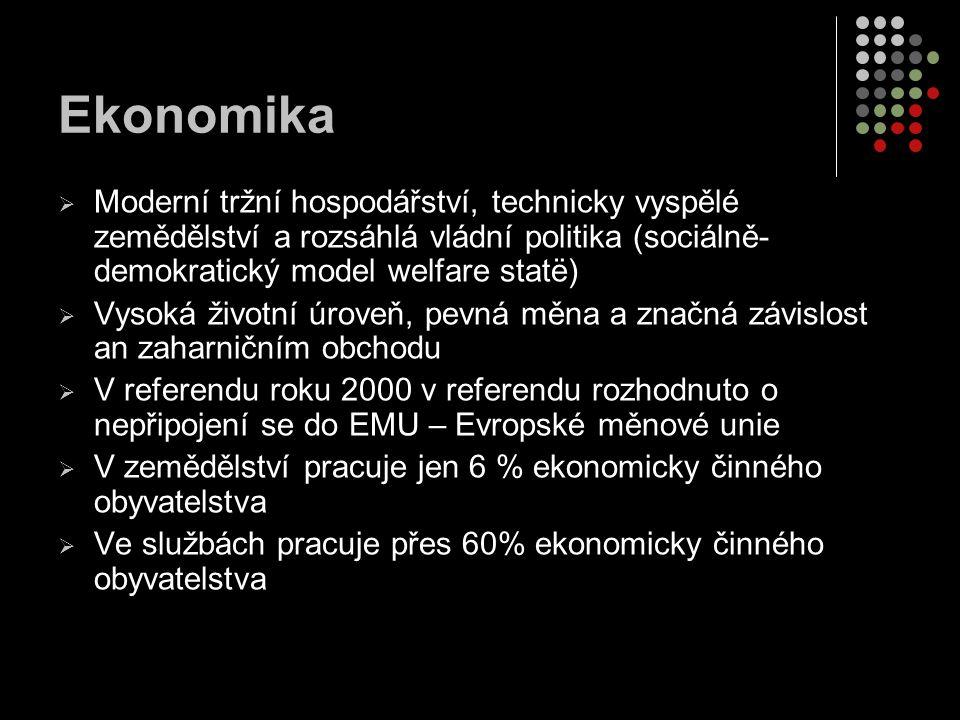 Ekonomika  Moderní tržní hospodářství, technicky vyspělé zemědělství a rozsáhlá vládní politika (sociálně- demokratický model welfare statë)  Vysoká