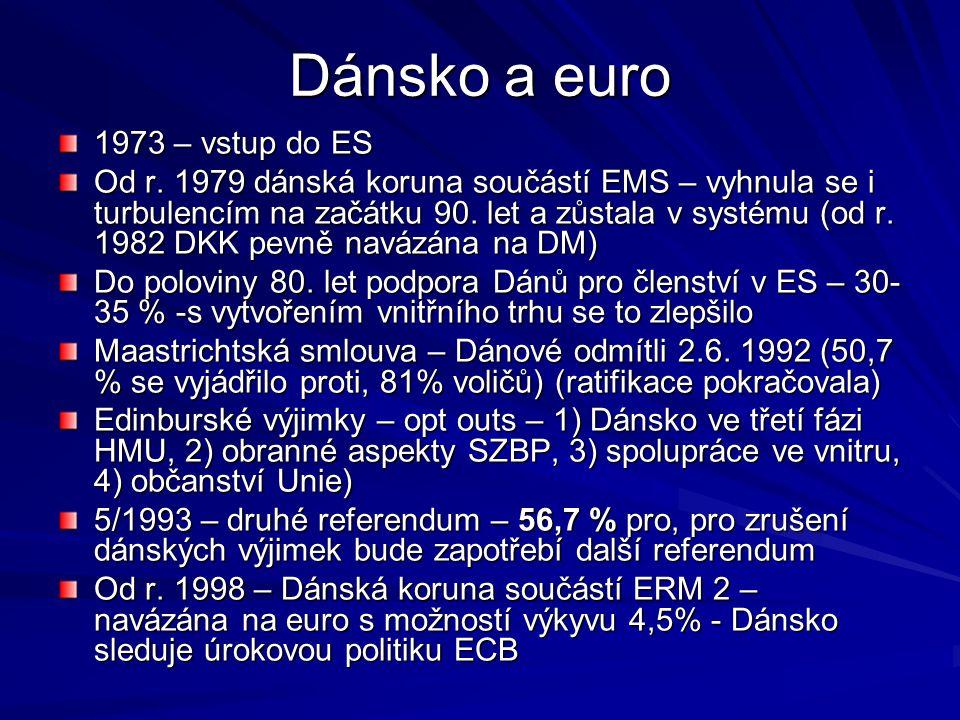 Dánsko a euro 1973 – vstup do ES Od r. 1979 dánská koruna součástí EMS – vyhnula se i turbulencím na začátku 90. let a zůstala v systému (od r. 1982 D