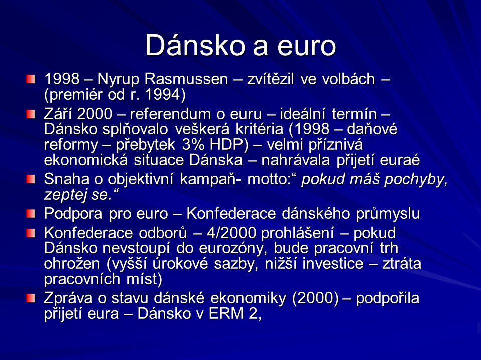 Dánsko a euro 1998 – Nyrup Rasmussen – zvítězil ve volbách – (premiér od r. 1994) Září 2000 – referendum o euru – ideální termín – Dánsko splňovalo ve