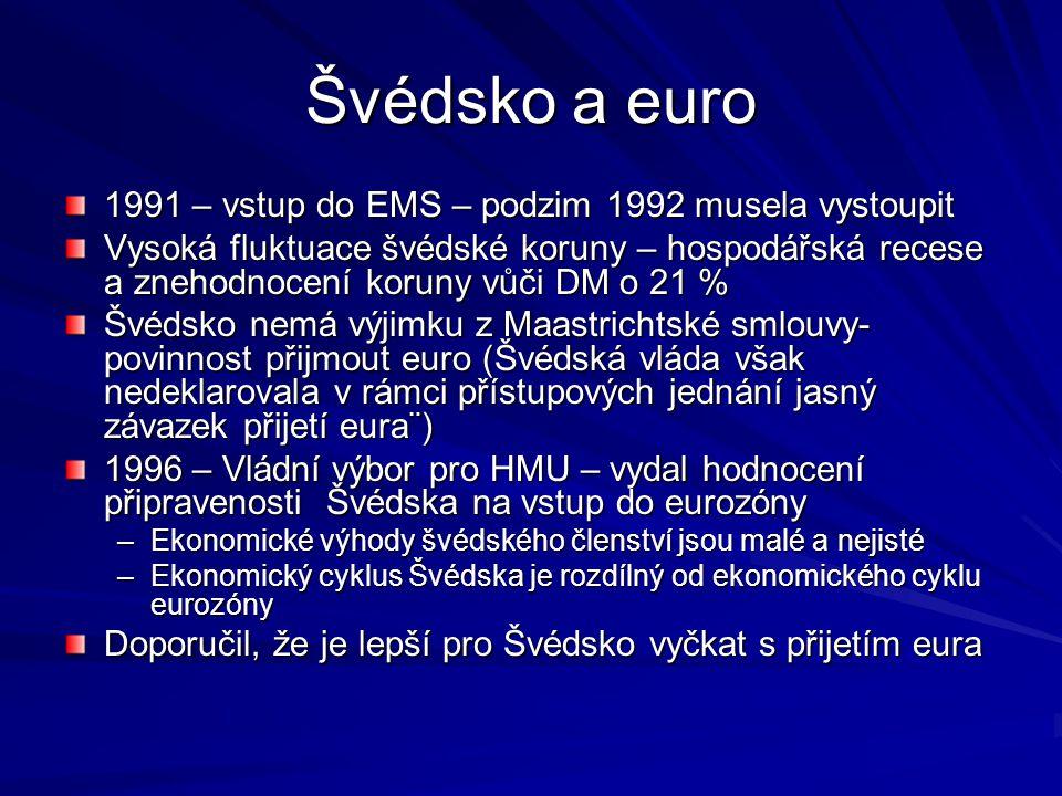 Švédsko a euro 1991 – vstup do EMS – podzim 1992 musela vystoupit Vysoká fluktuace švédské koruny – hospodářská recese a znehodnocení koruny vůči DM o