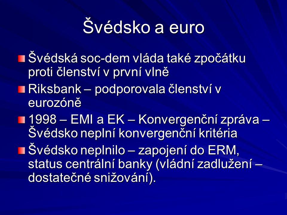 Švédsko a euro Švédská soc-dem vláda také zpočátku proti členství v první vlně Riksbank – podporovala členství v eurozóně 1998 – EMI a EK – Konvergenč