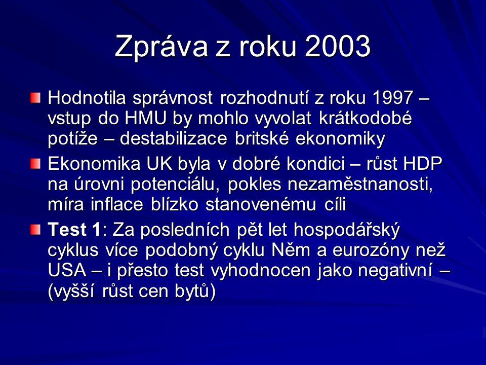 Zpráva z roku 2003 Hodnotila správnost rozhodnutí z roku 1997 – vstup do HMU by mohlo vyvolat krátkodobé potíže – destabilizace britské ekonomiky Ekon