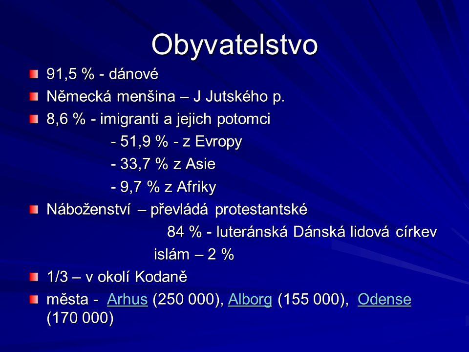 Obyvatelstvo 91,5 % - dánové Německá menšina – J Jutského p. 8,6 % - imigranti a jejich potomci - 51,9 % - z Evropy - 51,9 % - z Evropy - 33,7 % z Asi