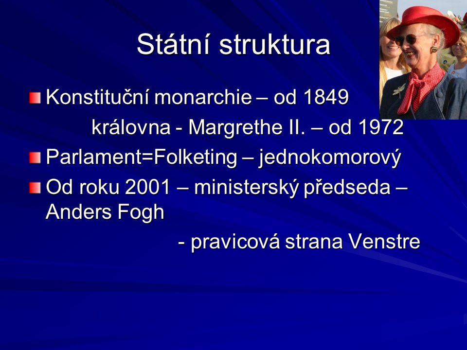 Státní struktura Konstituční monarchie – od 1849 královna - Margrethe II. – od 1972 královna - Margrethe II. – od 1972 Parlament=Folketing – jednokomo