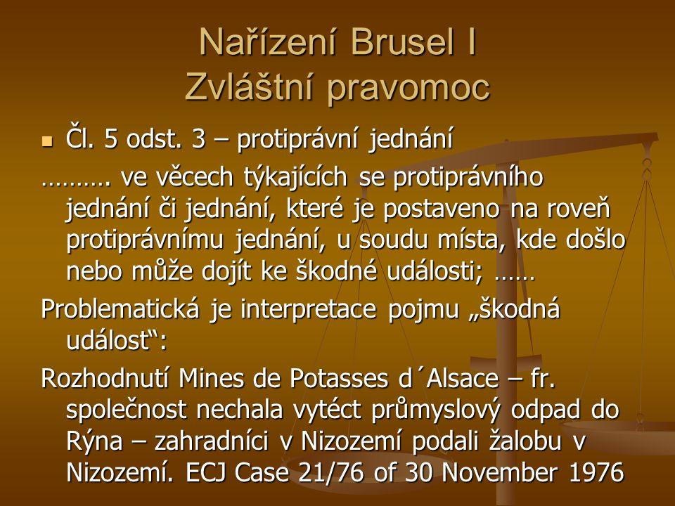 Nařízení Brusel I Zvláštní pravomoc Čl. 5 odst. 3 – protiprávní jednání Čl. 5 odst. 3 – protiprávní jednání ………. ve věcech týkajících se protiprávního