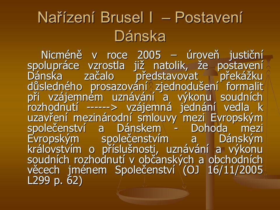 Nařízení Brusel I – Postavení Dánska Nicméně v roce 2005 – úroveň justiční spolupráce vzrostla již natolik, že postavení Dánska začalo představovat překážku důsledného prosazování zjednodušení formalit při vzájemném uznávání a výkonu soudních rozhodnutí ------> vzájemná jednání vedla k uzavření mezinárodní smlouvy mezi Evropským společenství a Dánskem - Dohoda mezi Evropským společenstvím a Dánským královstvím o příslušnosti, uznávání a výkonu soudních rozhodnutí v občanských a obchodních věcech jménem Společenství (OJ 16/11/2005 L299 p.