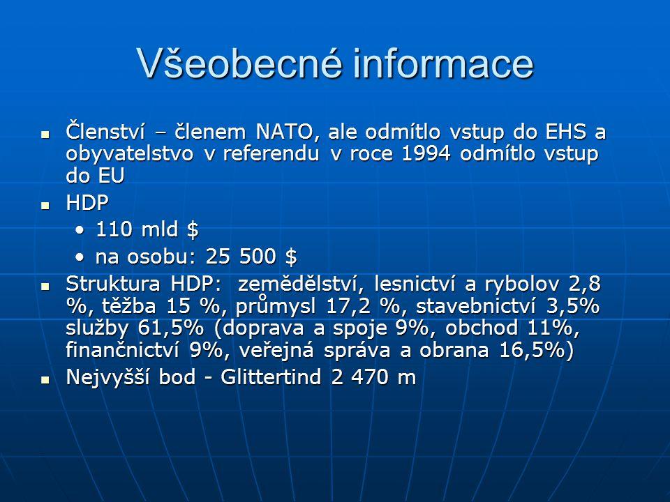 Všeobecné informace Členství – členem NATO, ale odmítlo vstup do EHS a obyvatelstvo v referendu v roce 1994 odmítlo vstup do EU Členství – členem NATO