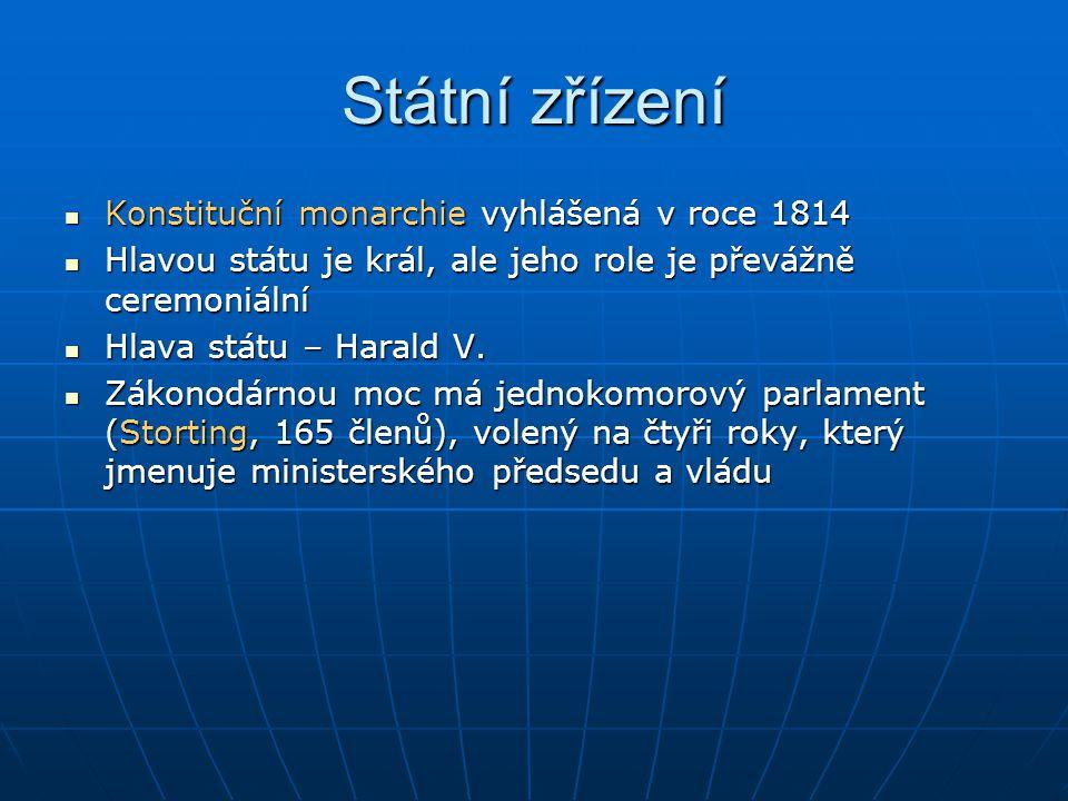 Státní zřízení Konstituční monarchie vyhlášená v roce 1814 Konstituční monarchie vyhlášená v roce 1814 Hlavou státu je král, ale jeho role je převážně