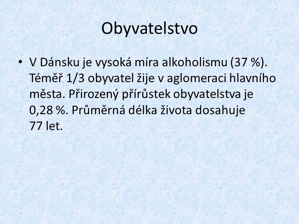 Obyvatelstvo V Dánsku je vysoká míra alkoholismu (37 %). Téměř 1/3 obyvatel žije v aglomeraci hlavního města. Přirozený přírůstek obyvatelstva je 0,28