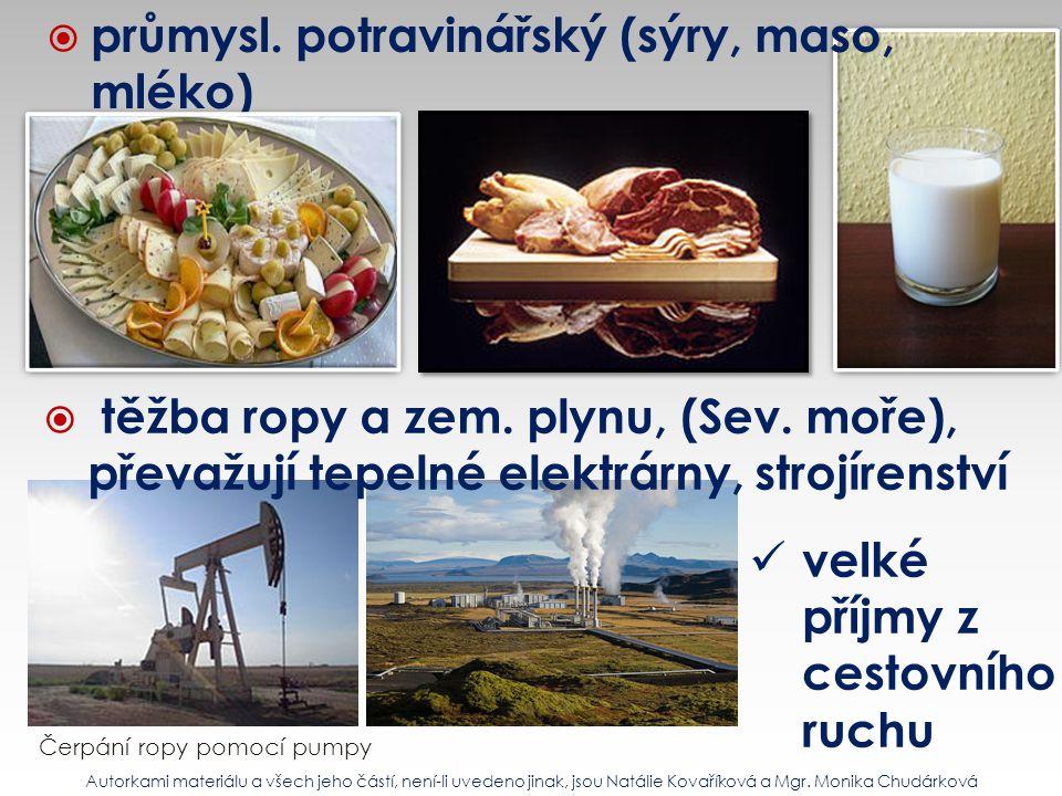  průmysl. potravinářský (sýry, maso, mléko)  těžba ropy a zem. plynu, (Sev. moře), převažují tepelné elektrárny, strojírenství Čerpání ropy pomocí p
