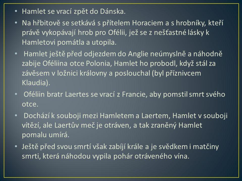 Hamlet se vrací zpět do Dánska.
