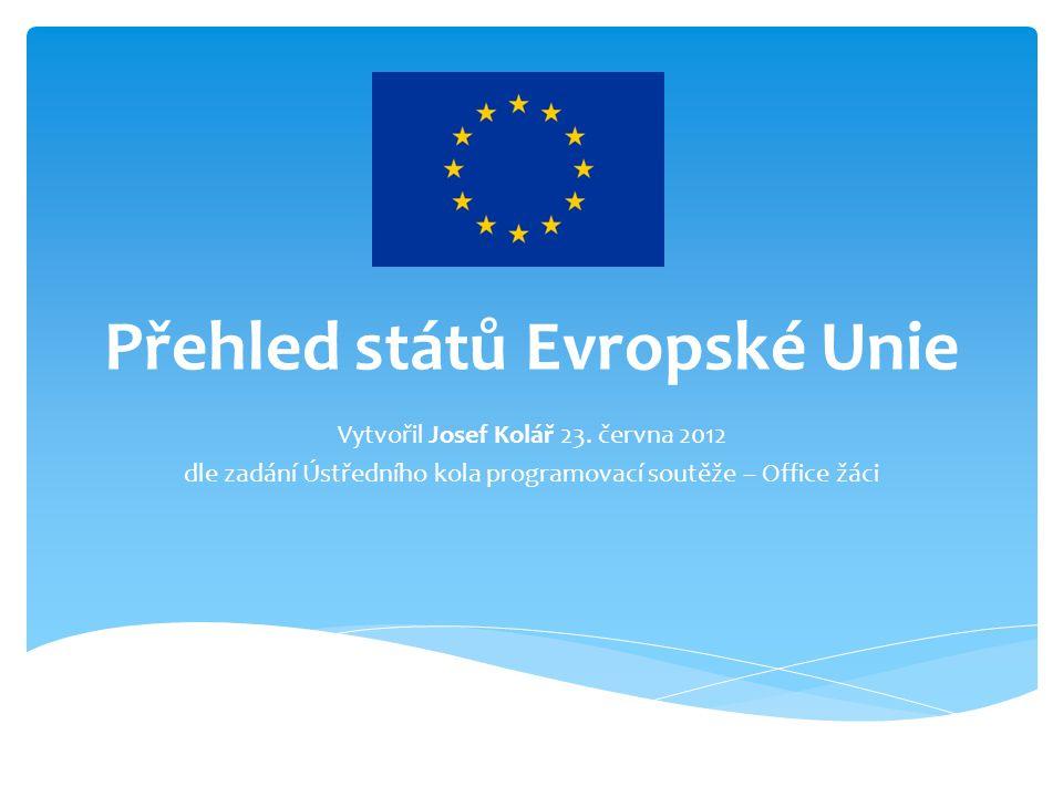 Přehled států Evropské Unie Vytvořil Josef Kolář 23. června 2012 dle zadání Ústředního kola programovací soutěže – Office žáci