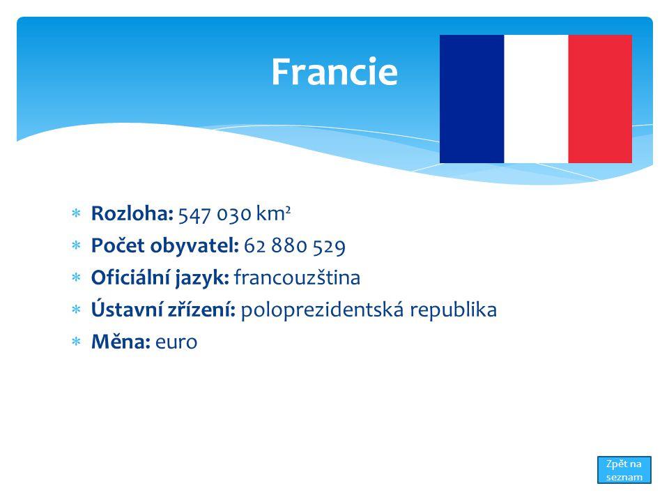  Rozloha: 547 030 km²  Počet obyvatel: 62 880 529  Oficiální jazyk: francouzština  Ústavní zřízení: poloprezidentská republika  Měna: euro Francie Zpět na seznam