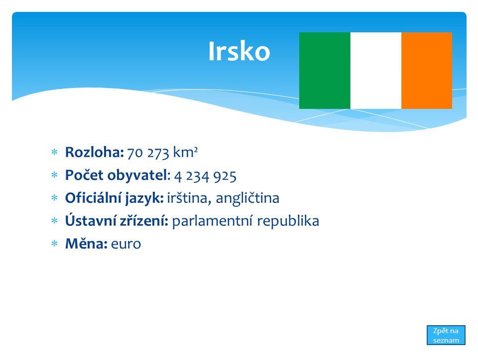  Rozloha: 70 273 km²  Počet obyvatel: 4 234 925  Oficiální jazyk: irština, angličtina  Ústavní zřízení: parlamentní republika  Měna: euro Irsko Zpět na seznam