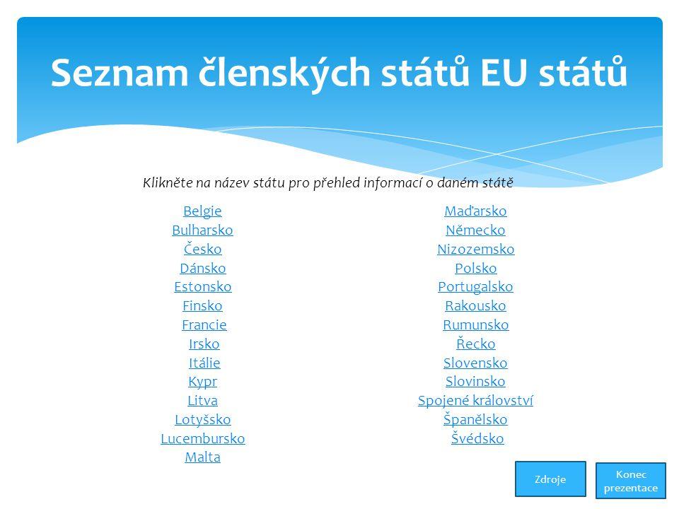 Seznam členských států EU států BelgieMaďarsko BulharskoNěmecko ČeskoNizozemsko DánskoPolsko EstonskoPortugalsko FinskoRakousko Francie Rumunsko Irsko Řecko Itálie Slovensko KyprSlovinsko LitvaSpojené království LotyšskoŠpanělsko Lucembursko Švédsko Malta Klikněte na název státu pro přehled informací o daném státě Konec prezentace Zdroje