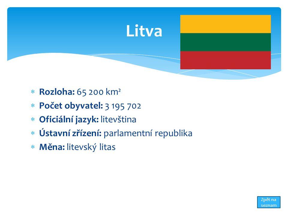  Rozloha: 65 200 km²  Počet obyvatel: 3 195 702  Oficiální jazyk: litevština  Ústavní zřízení: parlamentní republika  Měna: litevský litas Litva Zpět na seznam