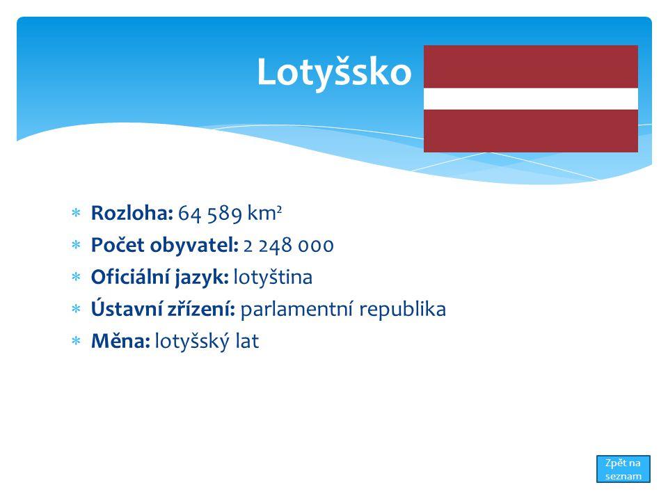  Rozloha: 64 589 km²  Počet obyvatel: 2 248 000  Oficiální jazyk: lotyština  Ústavní zřízení: parlamentní republika  Měna: lotyšský lat Lotyšsko Zpět na seznam