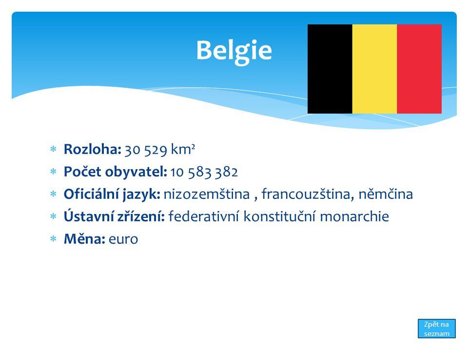  Rozloha: 30 529 km²  Počet obyvatel: 10 583 382  Oficiální jazyk: nizozemština, francouzština, němčina  Ústavní zřízení: federativní konstituční monarchie  Měna: euro Belgie Zpět na seznam
