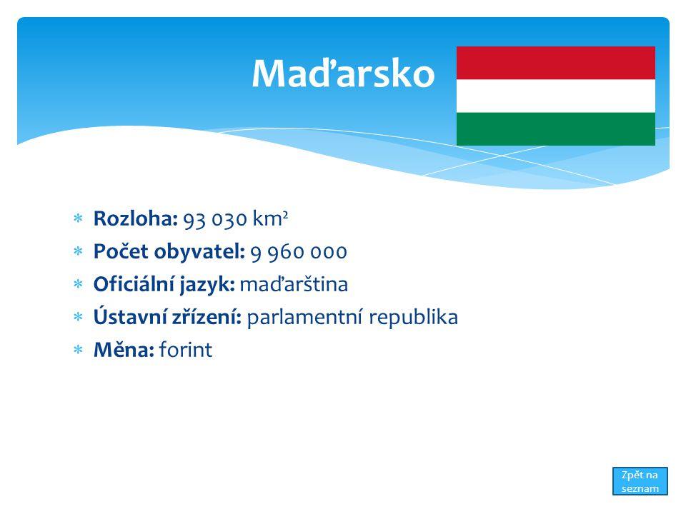 Rozloha: 93 030 km²  Počet obyvatel: 9 960 000  Oficiální jazyk: maďarština  Ústavní zřízení: parlamentní republika  Měna: forint Maďarsko Zpět na seznam