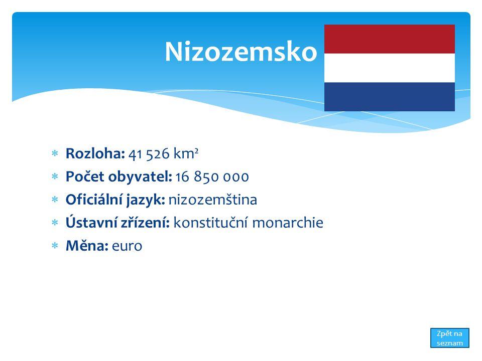  Rozloha: 41 526 km²  Počet obyvatel: 16 850 000  Oficiální jazyk: nizozemština  Ústavní zřízení: konstituční monarchie  Měna: euro Nizozemsko Zpět na seznam