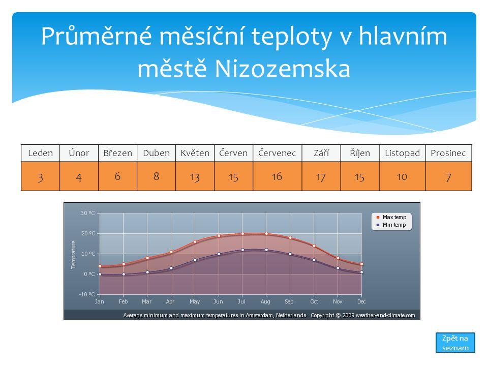 Průměrné měsíční teploty v hlavním městě Nizozemska LedenÚnorBřezenDubenKvětenČervenČervenecZáříŘíjenListopadProsinec 34681315161715107 Zpět na seznam