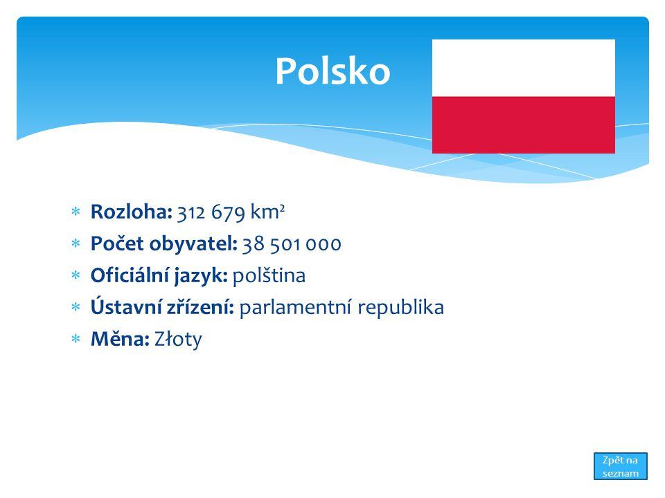  Rozloha: 312 679 km²  Počet obyvatel: 38 501 000  Oficiální jazyk: polština  Ústavní zřízení: parlamentní republika  Měna: Złoty Polsko Zpět na