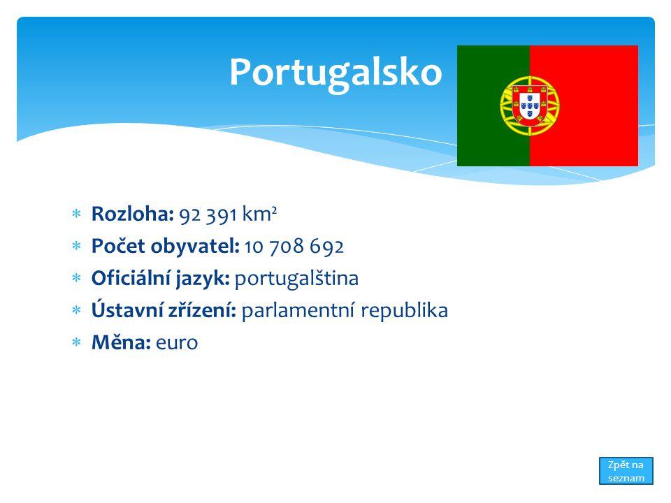  Rozloha: 92 391 km²  Počet obyvatel: 10 708 692  Oficiální jazyk: portugalština  Ústavní zřízení: parlamentní republika  Měna: euro Portugalsko Zpět na seznam