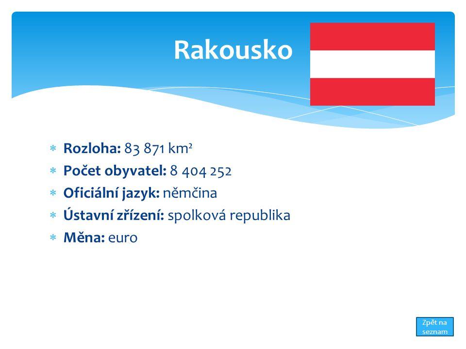  Rozloha: 83 871 km²  Počet obyvatel: 8 404 252  Oficiální jazyk: němčina  Ústavní zřízení: spolková republika  Měna: euro Rakousko Zpět na sezna