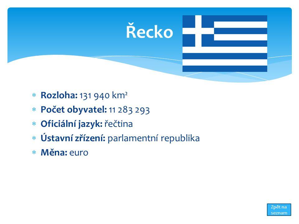  Rozloha: 131 940 km²  Počet obyvatel: 11 283 293  Oficiální jazyk: řečtina  Ústavní zřízení: parlamentní republika  Měna: euro Řecko Zpět na seznam