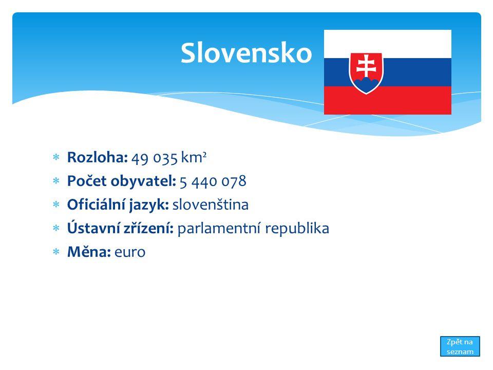  Rozloha: 49 035 km²  Počet obyvatel: 5 440 078  Oficiální jazyk: slovenština  Ústavní zřízení: parlamentní republika  Měna: euro Slovensko Zpět