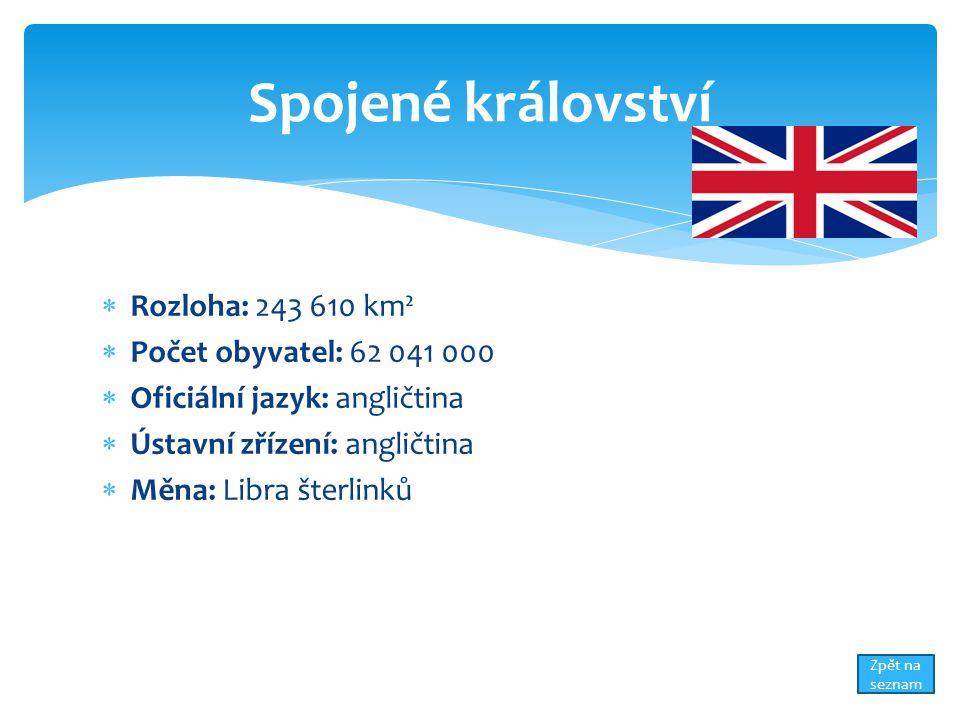  Rozloha: 243 610 km²  Počet obyvatel: 62 041 000  Oficiální jazyk: angličtina  Ústavní zřízení: angličtina  Měna: Libra šterlinků Spojené království Zpět na seznam