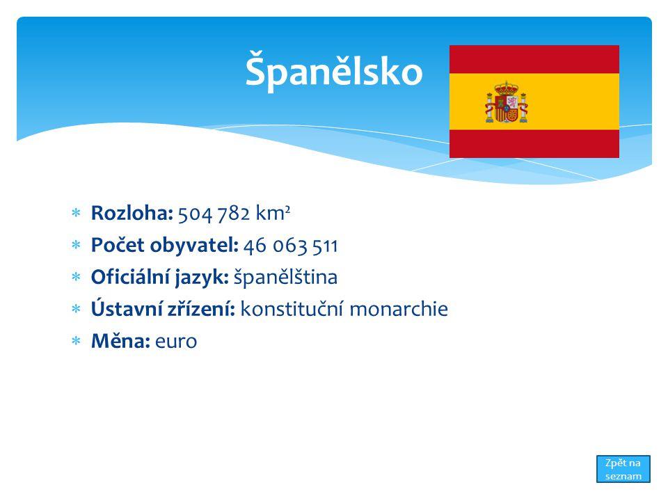  Rozloha: 504 782 km²  Počet obyvatel: 46 063 511  Oficiální jazyk: španělština  Ústavní zřízení: konstituční monarchie  Měna: euro Španělsko Zpět na seznam