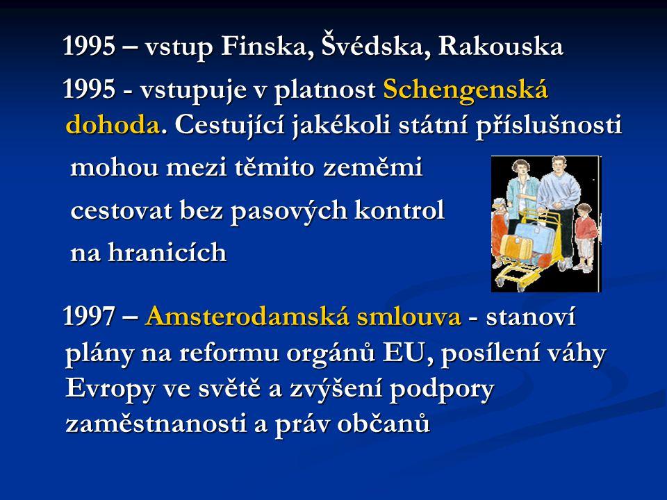1995 – vstup Finska, Švédska, Rakouska 1995 – vstup Finska, Švédska, Rakouska 1995 - vstupuje v platnost Schengenská dohoda.