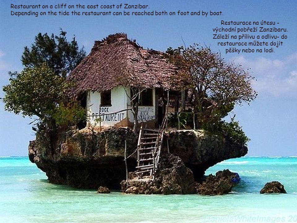 Restaurant on a cliff on the east coast of Zanzibar.