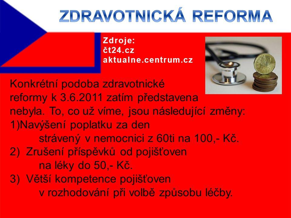 Konkrétní podoba zdravotnické reformy k 3.6.2011 zatím představena nebyla.
