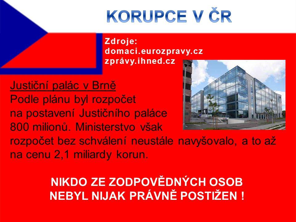 Justiční palác v Brně Podle plánu byl rozpočet na postavení Justičního paláce 800 milionů.