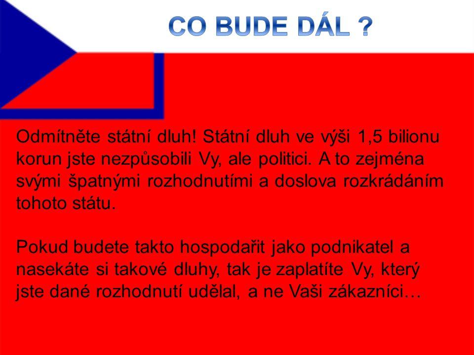 Odmítněte státní dluh. Státní dluh ve výši 1,5 bilionu korun jste nezpůsobili Vy, ale politici.