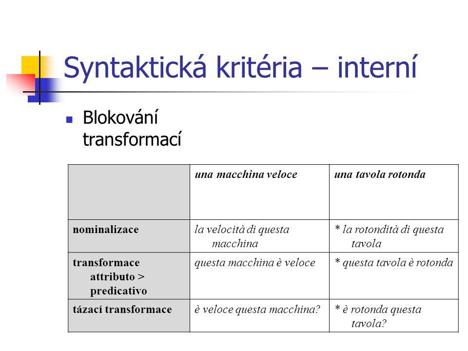 Syntaktická kritéria – interní Blokování transformací una macchina veloceuna tavola rotonda nominalizacela velocità di questa macchina * la rotondità