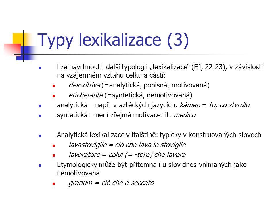Lexikalizace v mezijazykovém srovnání Jak si všímá už F.
